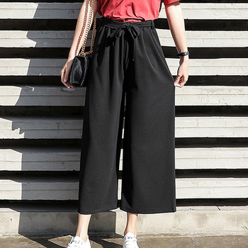 Black Casual Pants Women Wide Leg Loose Womens Trousers High Waist Elegant Baggy Sweatpants Females Pure Color Korean Fashion