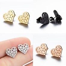 SMJEL-pendientes de acero inoxidable con forma de corazón de Origami para mujer, aretes pequeños, oro rosa, joyería Bohemia, accesorios, regalo BFF