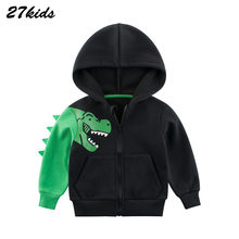 Casual Dinosaur top Cartoon Crocodile Print Boys Girls Cartoon Loose Pullovers Hooded For Kids Zipper sweatershirt Baby Jacket(China)
