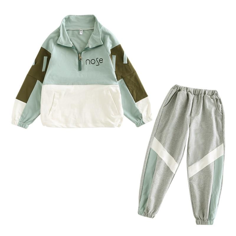 2021 Fashion Big Girls Sports Suits Semi-high Collar Letter Zipper Clothing Set Teenage Spring Autumn Tracksuit Kids Sportswear 3