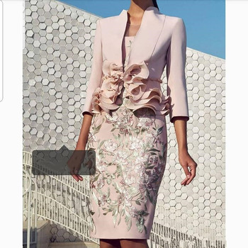 Pale Pink Mother Of the Bride Dresses with 3/4 Long Sleeve Lace Ruffles Knee-length Women Formal Party Wedding Guest Dress