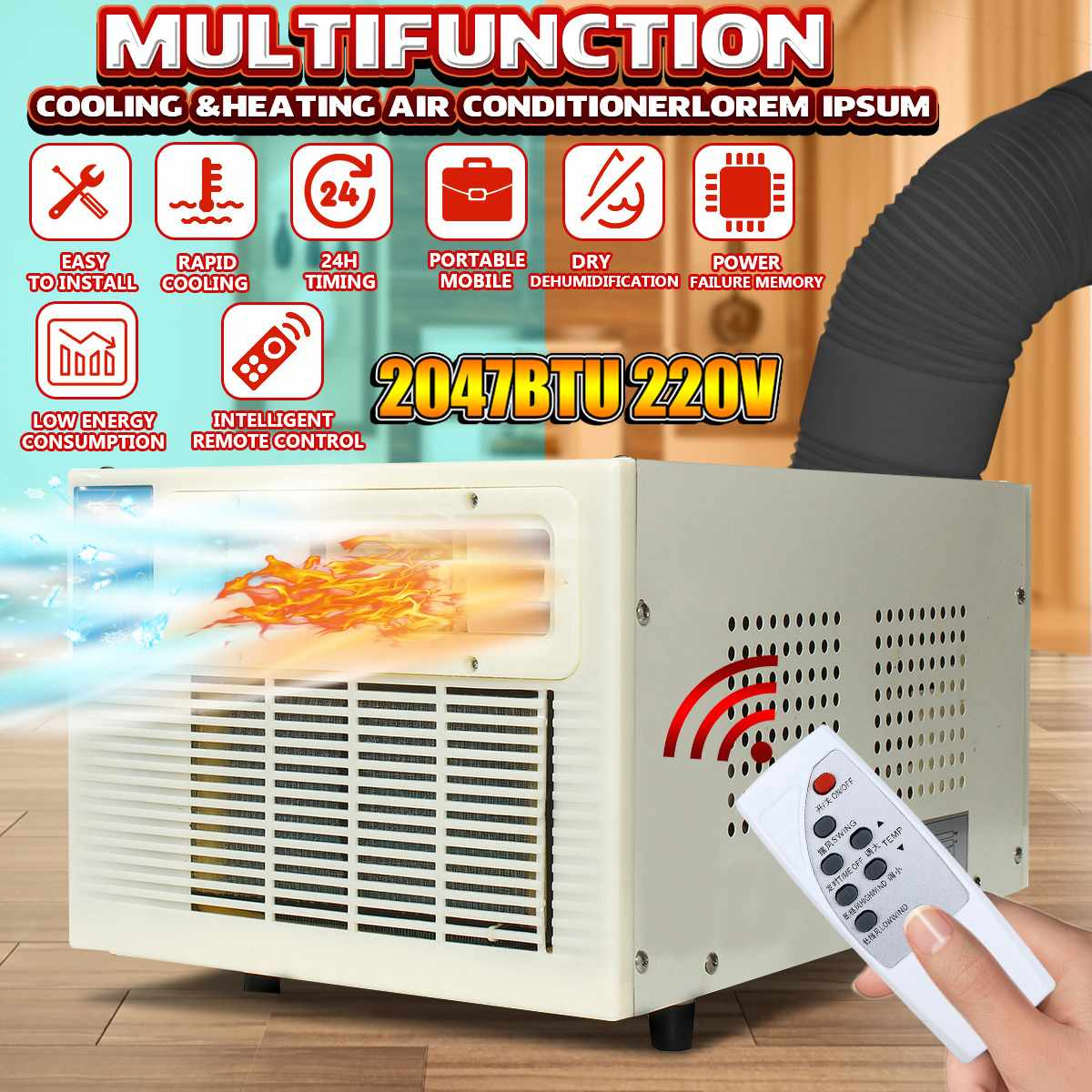 Desktop Air Conditioner 2047BTU 220V Cold/Heat Dual Use Remote Control LED Panel 24h Timer Cooler Heater With Free Exhaust Pipe