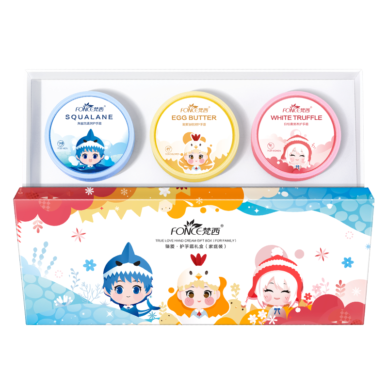 FONCE Hand Cream Gift Box 3x50g Three Styles Hand Care Child Adult Old Man Moisturizing Nourishing Anti-freeze Crack