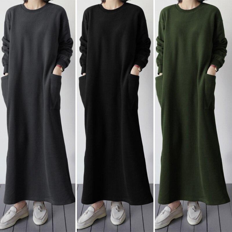 ZANZEA 2020 Fashion Women Casual Long Maxi Dress Vintage Sweatshirt Vestidos Pockets Split Party Beach Sundress Robe Femme 5XL 7