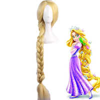 Tangled Princess Straight Blonde Super Long Cosplay Wig Rapunzel Synthetic Hair Anime Costume Wigs + Wig Cap