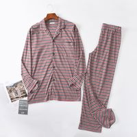 Pajamas for men autumn Long sleeve Cotton sleepwear stripe Pajama set