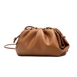 Monogrammed Letters Evening Party Hand Purse Bag Fashion Clutch Bag Women Large Ruched Cloud Bag New Soft Leather Shoulder Bag