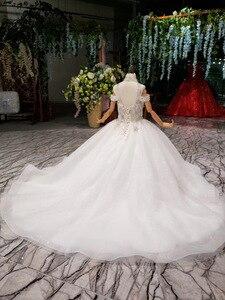 Image 2 - 2019 nouveau Bling Bling fleur fille Dresse pour fête de mariage filles Pageant robes cristlas première Communion robes pour petite fille