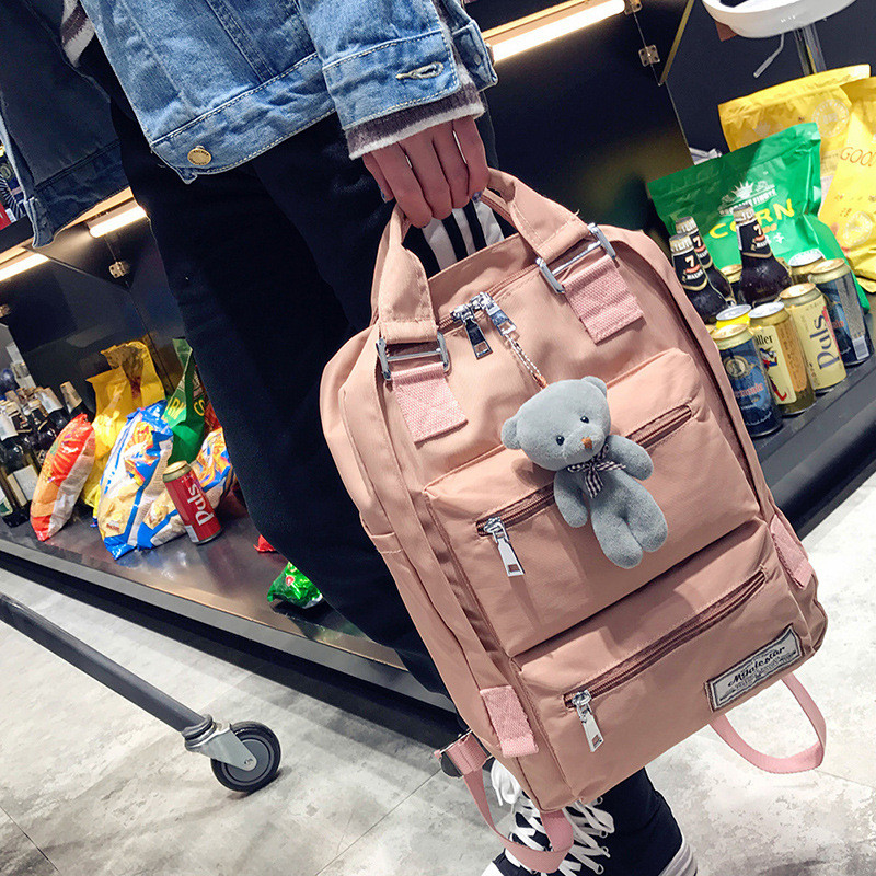 Harajuku Women Backpacks Cute Bear Pendant School Bags For Teenage Girls Nylon Bookpack Waterproof Casual Travel Back Pack Purse