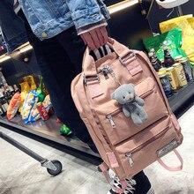 Harajuku Women Backpacks Cute Bear Pendant School Bags for Teenage Girls Nylon bookpack Waterproof Casual Travel Back Pack Purse