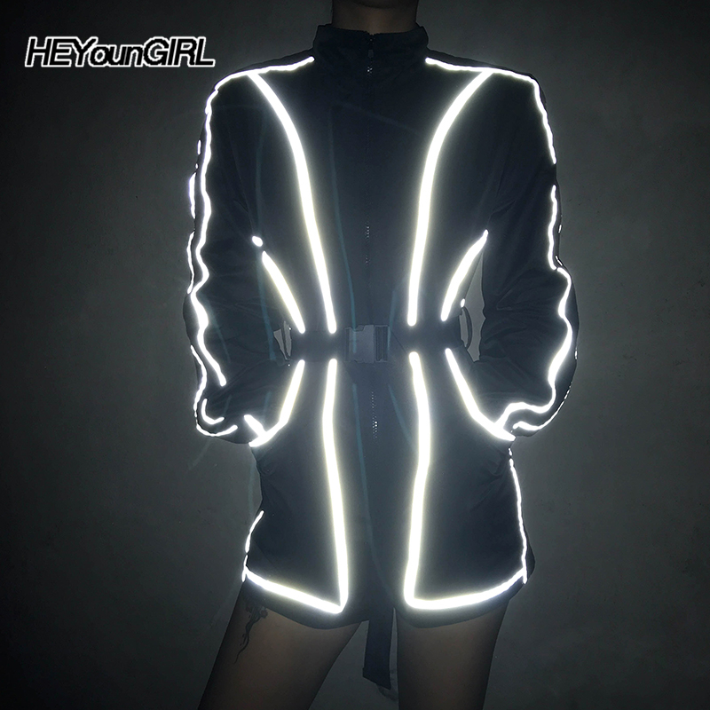 HEYounGIRL Harajuku Long Sleeve Playsuit Women Casual Loose Short Jumpsuits Ladies Reflective Strips Black Rompers Belt Autumn