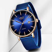 LIGE New Mens Watches Top Brand Luxury Blue Waterproof Watches Ultra Thin Date Simple Casual Quartz Watch For Men Sports Clock fotina casual brand bosck quartz men watch ultra thin waterproof unisex stainless steel women dress ultra thin watches for men