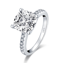 QYI 925 Sterling Silver Ring 3.5 Carat Wedding Ring Sona Cushion Cut Women Engagement Jewelry Anniversary Gift