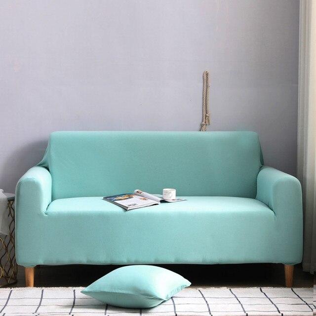 комплект эластичных чехлов для дивана хлопковые однотонные эластичные фотография