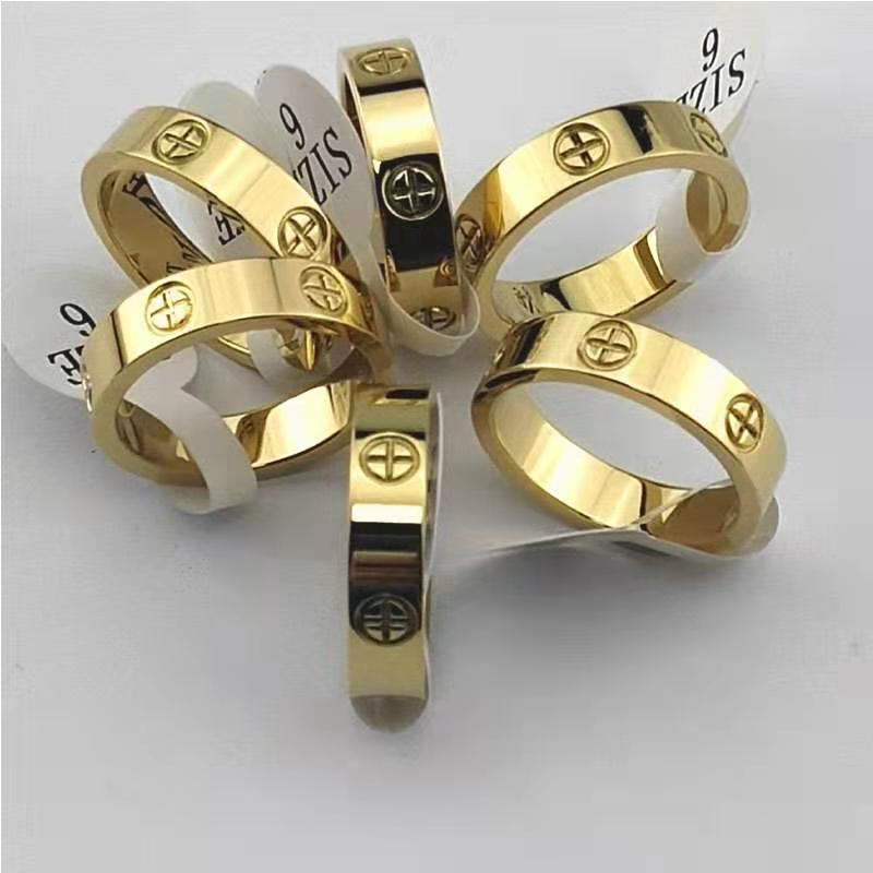 Fashion Trendy Stainless Steel Rose Gold Color Love Ring for Women Men Couple CZ Crystal Rings Luxury Brand Jewelry Wedding Gift