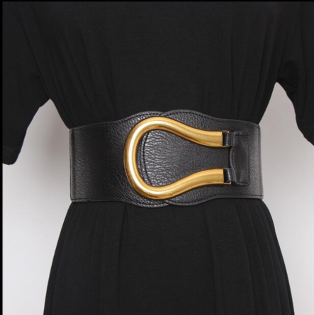 Women's Runway Fashion Pu Leather Elastic Buckle Cummerbunds Female Dress Corsets Waistband Belts Decoration Wide Belt R2435