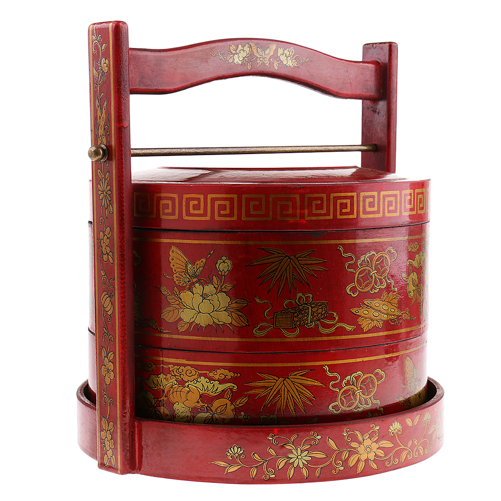 Antique Old Chinese Wooden Lacquer Hand Painted Two Tiered Food Box Basket
