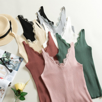 Women Hook Flower Lace Tank solid Stitching V neck Camis Female Knitted Short Slim Sleeveless Shirt