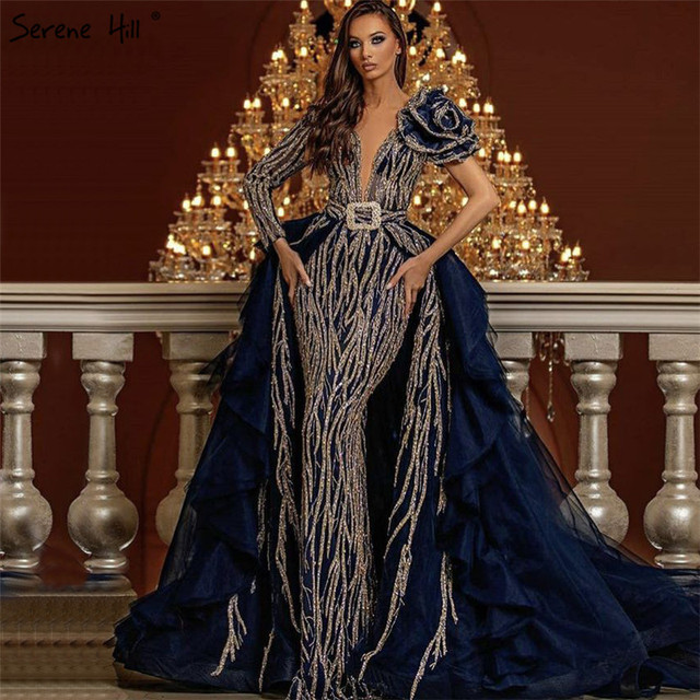 Dubai Blauw Lange Mouw Bloemen Avondjurken 2020 Lovertjes Kralen Luxe Sexy Formele Jurk Serene Hill HM67079