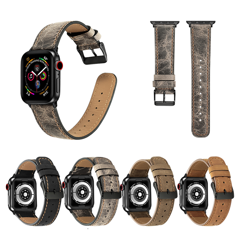 watch Accessories for apple watch band 42mm 38mm 44mm 40mm iwatch apple watch strap 4/5/3/2/1 Genuine Leather bracelet belt