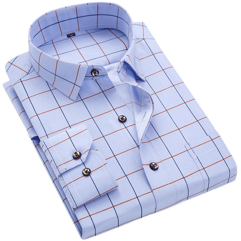 Men Shirt Long Sleeve Floral Printing Plaid Fashion Pocket Casual Shirts 100% Polyester Soft Comfortable Men Dress Shirt DS375 3