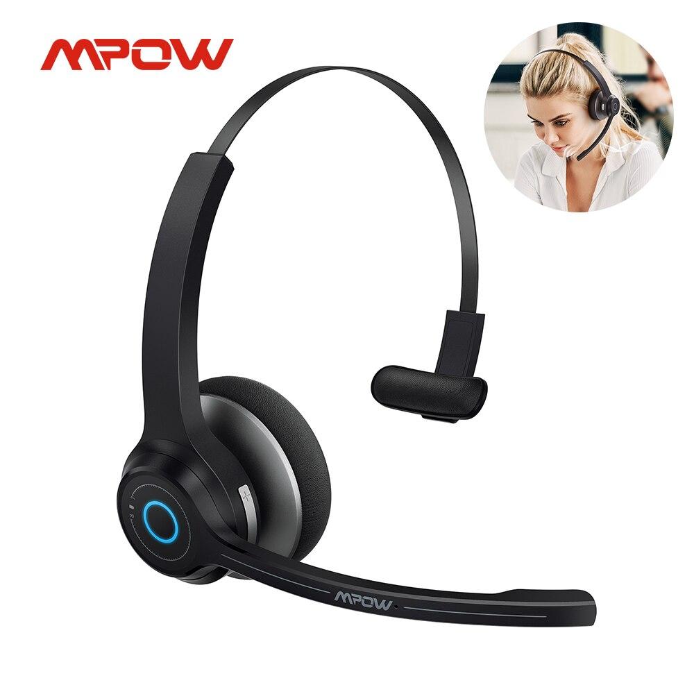 Беспроводные наушники Mpow HC7, Bluetooth-гарнитура с двойным микрофоном и шумоподавлением, умная Бесшумная Компьютерная гарнитура 45 часов воспрои...