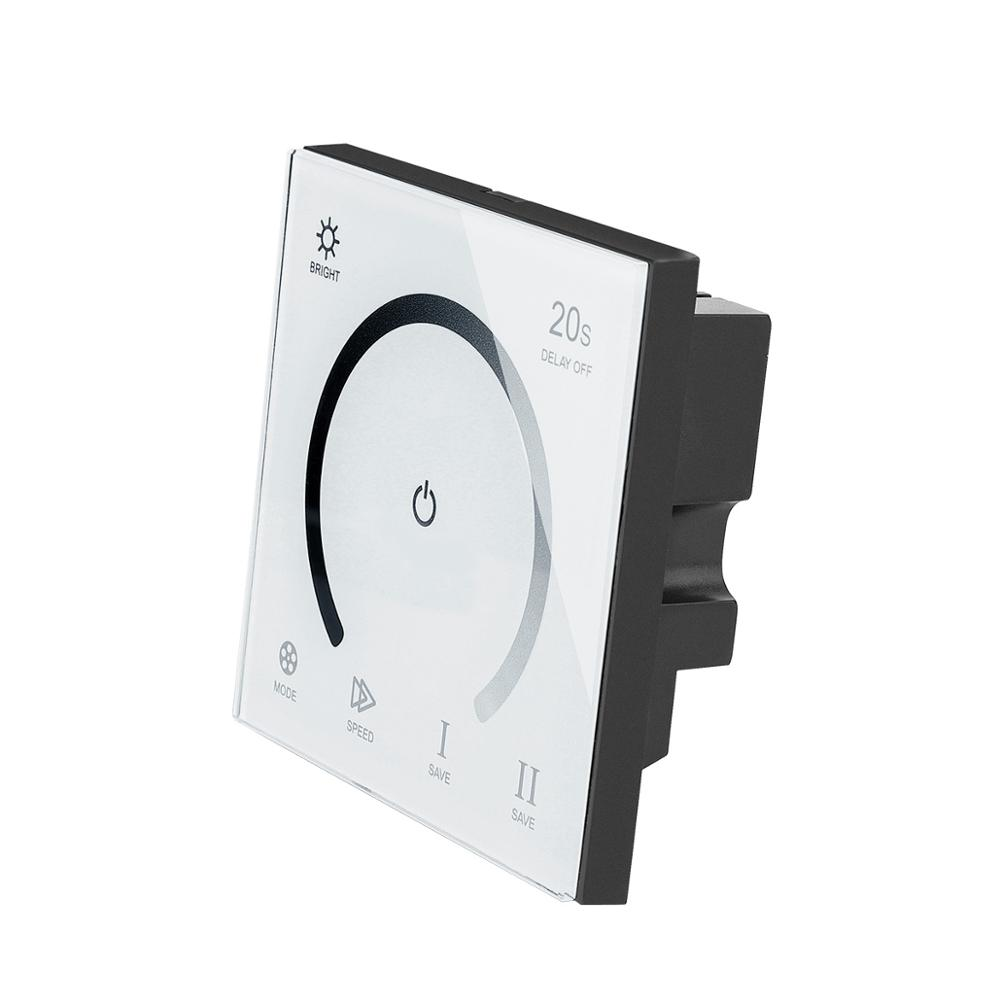 Interruptor de parede do painel de vidro do toque inteligente dimmer dc 12v 24v temporizador regulável conduziu o controlador para a única cor conduziu luzes de tira lâmpada