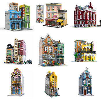 MOC City Streetview Series The Brickstive Havana Cafe Bike Shop University Post Model Modular Building Blocks Bricks Toys Gifts фото