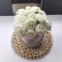 24Pcs Head 7cm Artificial PE Foam Rose Flowers Bridal Bouquet Wedding Home Decoration Scrapbooking DIY Craft Party Supplies