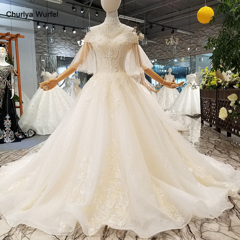 LS363011 sweetheart wedding gown lace tulle flare sleeve ball gown organza wedding dress with collar chain