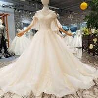 LS363011 sweetheart ชุดแต่งงานลูกไม้ tulle flare sleeve ชุดแต่งงาน organza งานแต่งงานชุดสร้อยคอจากประเทศจีนโรงงาน