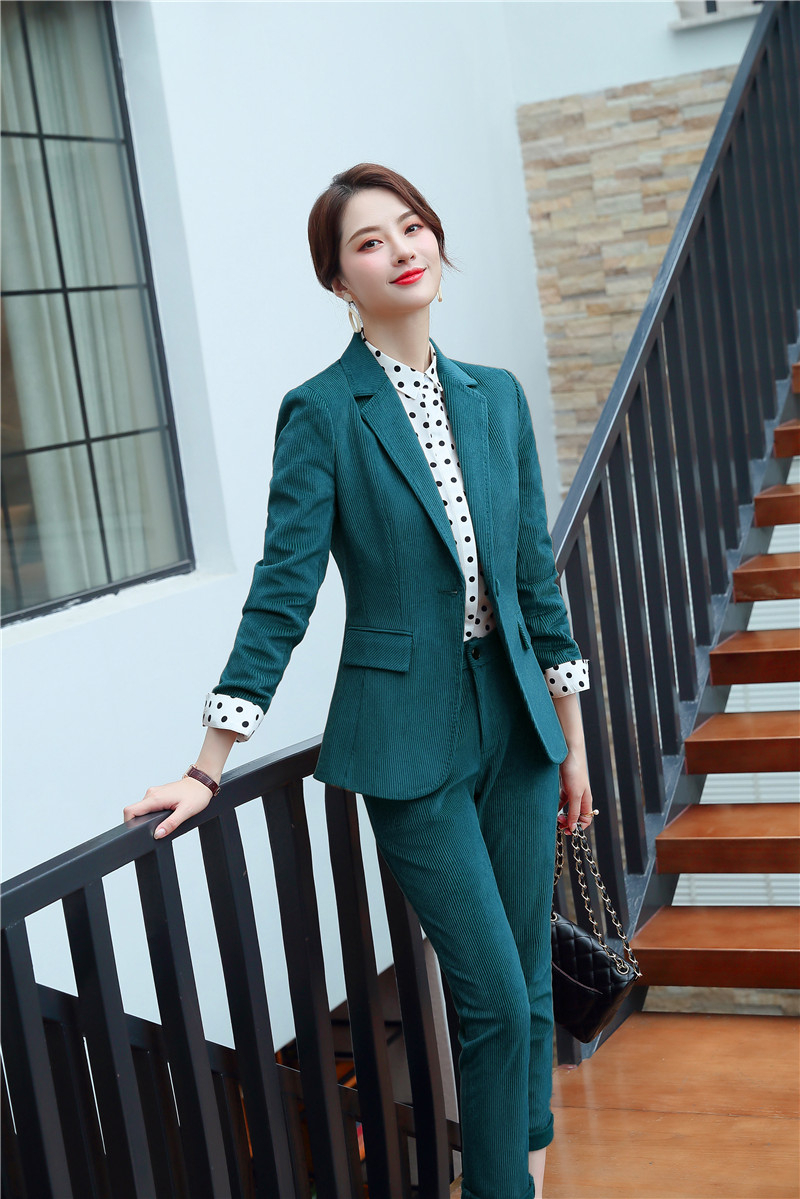 High Quality Corduroy Formal Women Business Suits With Jackets And Pencil Pants Ladies Office Work Wear Pantsuits Blazers Set
