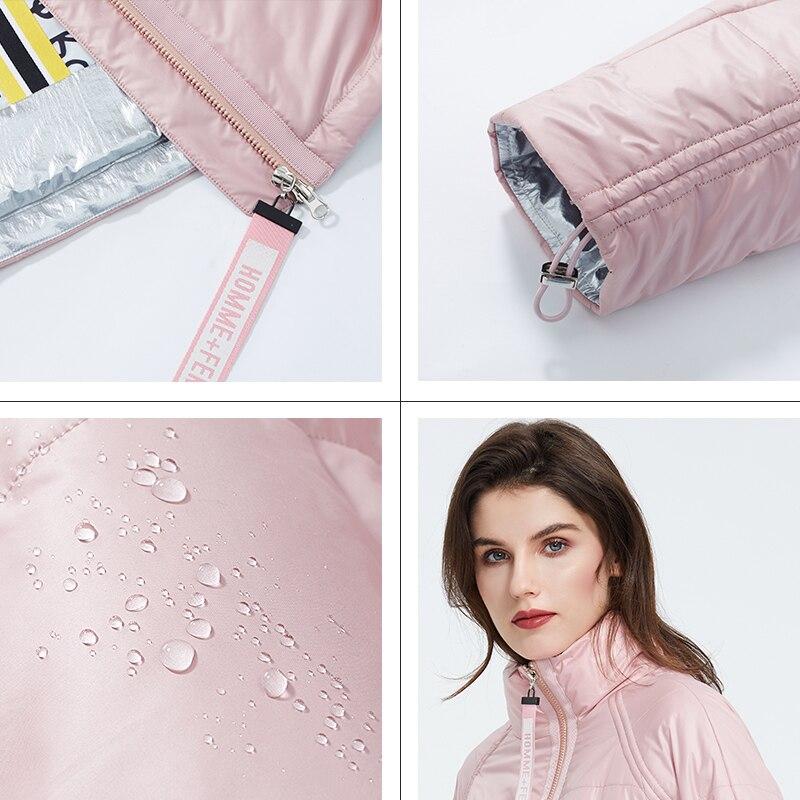 Astrid 2020 primavera mujer Parka marea marca abrigo cálido chaqueta delgada de algodón colores brillantes abrigo corto de pie Collar ZM-3053 - 4