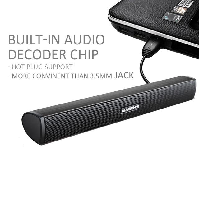 USB Laptop Speaker Portable/Computer Audio Mini Soundbar Subwoofer Bar Stick Music Player to PC Hot Sale Ikanoo Brand 4