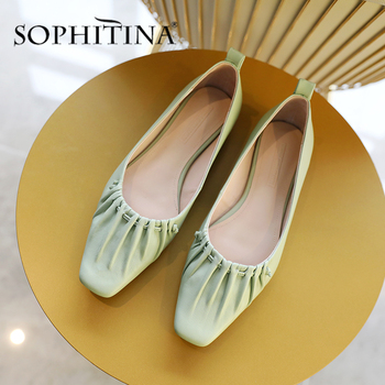 SOPHITINA New Flats Women Solid Shallow Square Toe Slip-On Comfortable Pleated Design Shoes Handmade Casual Solid Flats PO525