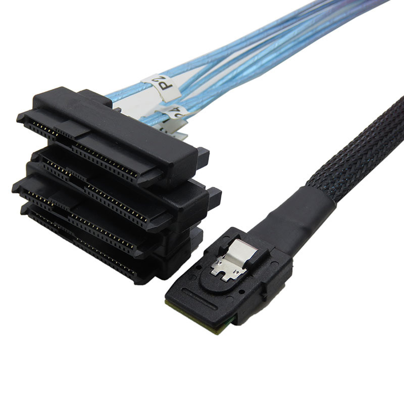 Mini 4 SAS Hard Drives 36P SFF-8087 To 4 SFF-8482 Cable Connectors With 15 Pin Power SATA Power Cable 0.5/1M IBM Controller