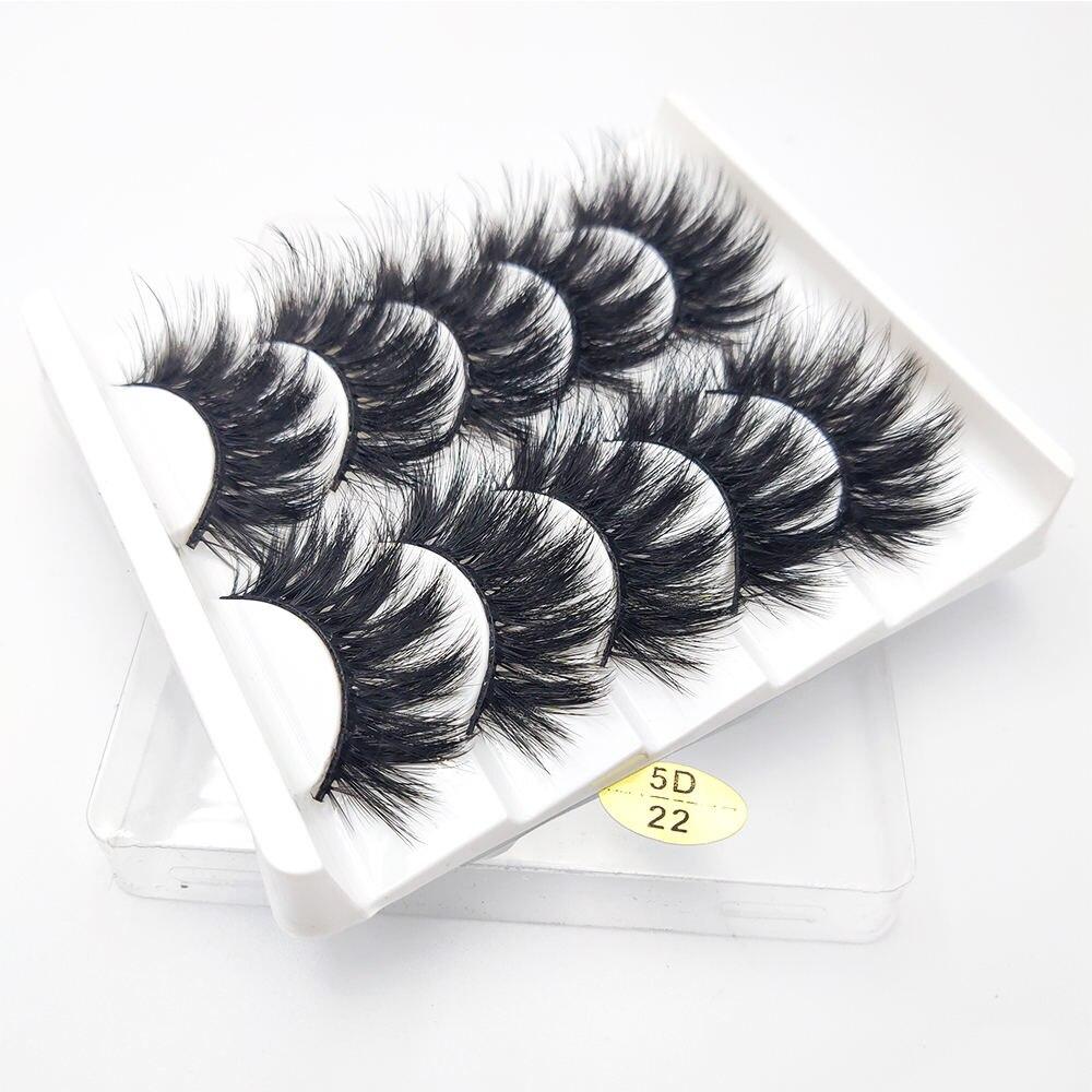 Huaruitai 5 Pairs 3D Mink Hair False Eyelashes Natural/Thick Long Eyelashes Wispy Makeup Beauty Extension Tools