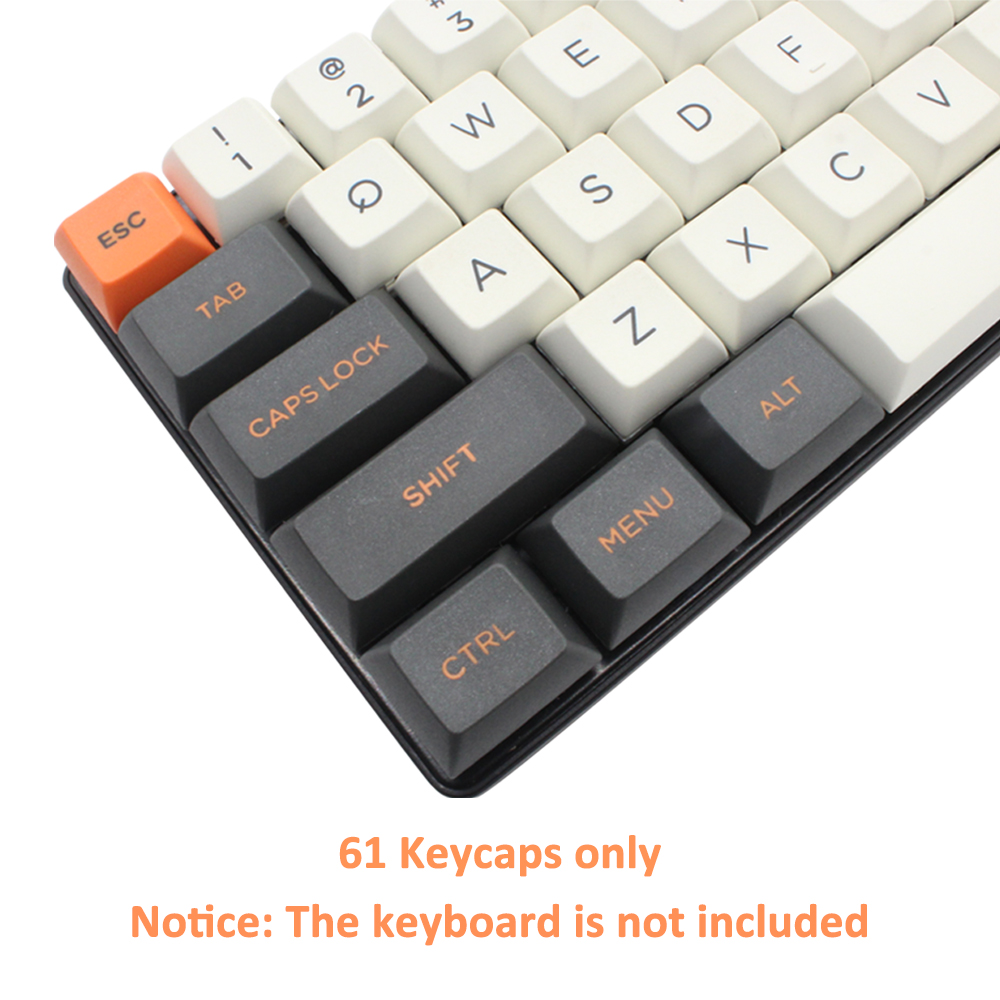 Купить с кэшбэком Smart Duck White Gray Orange Color PBT Keycaps For 61 Keys Mechanical Keyboard