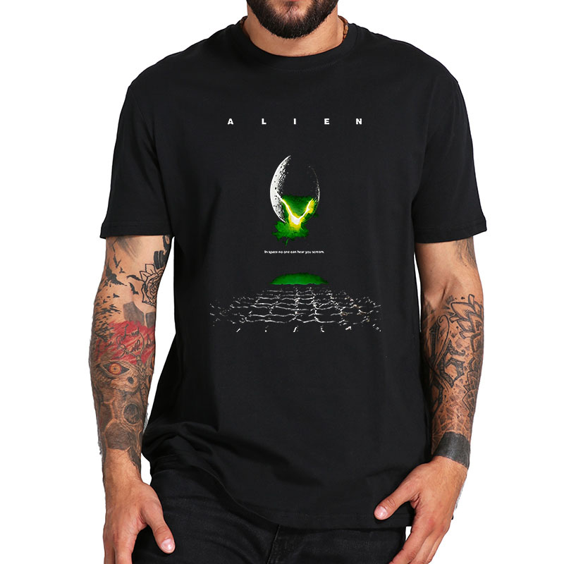 <font><b>Alien</b></font> <font><b>1979</b></font> Sci-Fi Extraterrestrial Horror Movie <font><b>Alien</b></font> Poster Adult T Shirt 100% Cotton O-Neck Breathable Tee Tops EU Size image