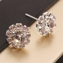 Luxury CZ Crystal Flower Stud Earrings for Women Wedding Rhinestone Earring Silver Color Earrings Statement Jewelry Brincos(China)