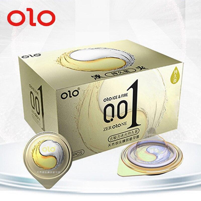 Супертонкие презервативы OLO 001, 10 шт., секс-игрушки для пар, презервативы для мужчин, задержка эякуляции, ультратонкое ощущение Льда и Огня
