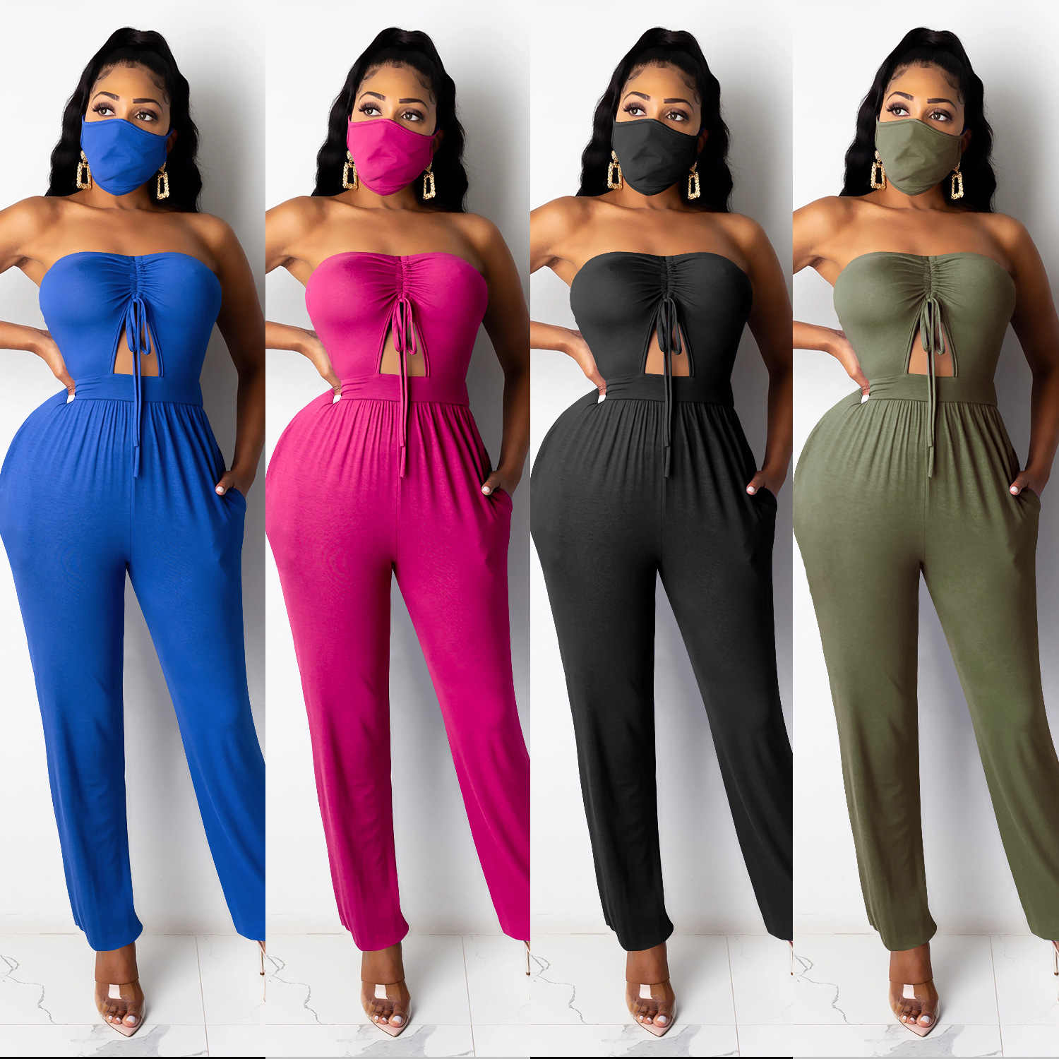 Zoctuo Sexy Jumpsuit Vrouwen Hollow Out Lace Up Rompertjes Strapless Met Masker Backless Jumpsuits Overalls Losse Een Stuk Jumpsuit