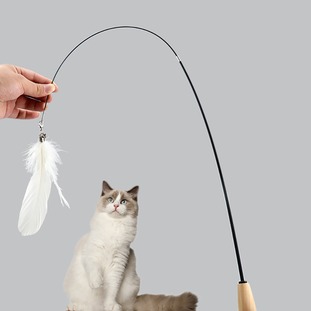 Funny <font><b>Feather</b></font> <font><b>Stick</b></font> <font><b>Cat</b></font> <font><b>Toy</b></font> Telescopic Wood Bell Play Pet Wand Teasing <font><b>Cat</b></font> <font><b>Sticks</b></font> Interactive High Quality Plush <font><b>Toy</b></font> image