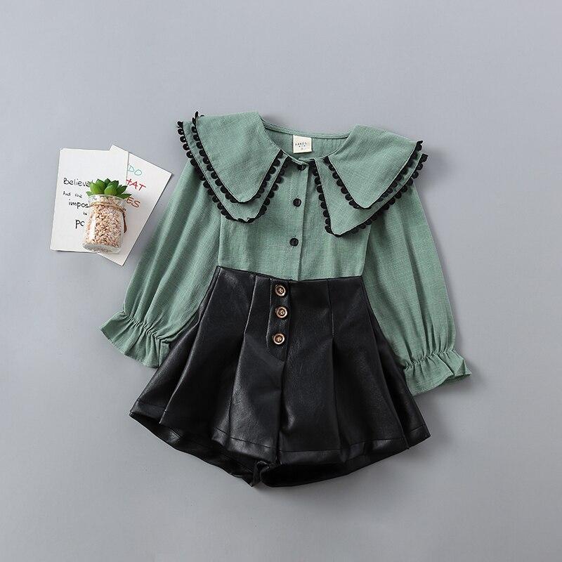 moda sólidos camisa + calça de couro