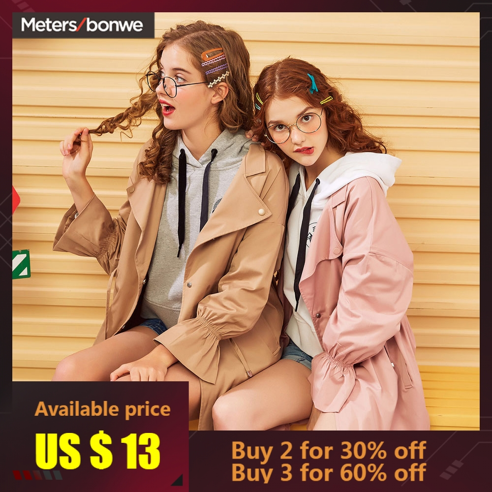 Metersbonwe 2019 Fashion Long   Trench   Female Windbreaker   Trench   Women Autumn Casual   Trench   Office Lady Coat Outwear
