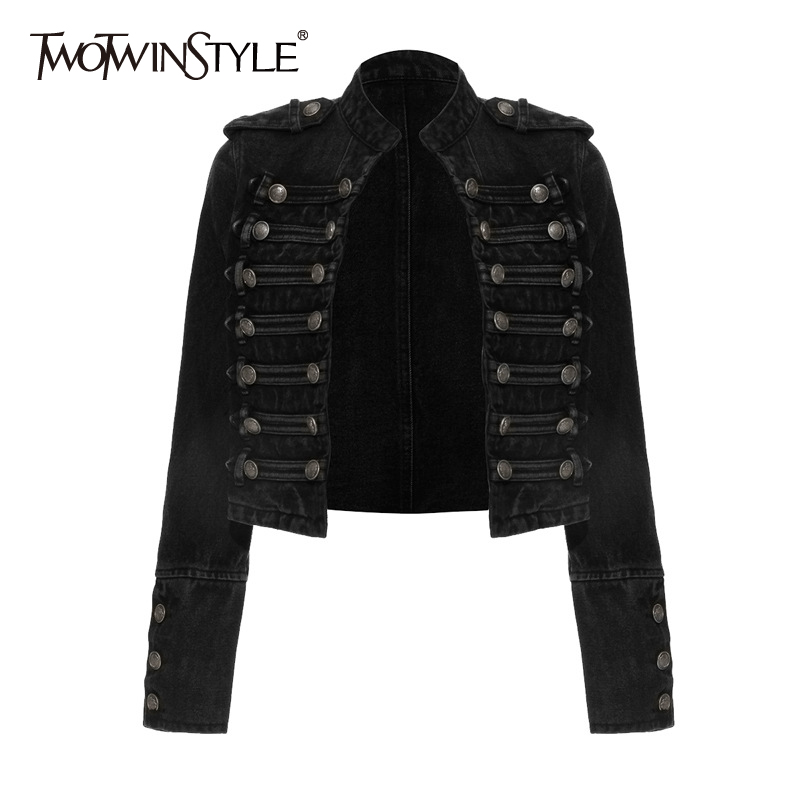 TWOTWINSTYLE Vintage Buttons Denim Coats For Women Stand Collar Long Sleeve Streetwear Style Jackets Female Clothes 2020 Fashion 1