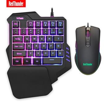 RedThunder One-Handed Gaming Keyboard RGB Backlit 6400dpi Macro Programming Mouse Combos,Portable Mini Keypad for Laptop PC 1