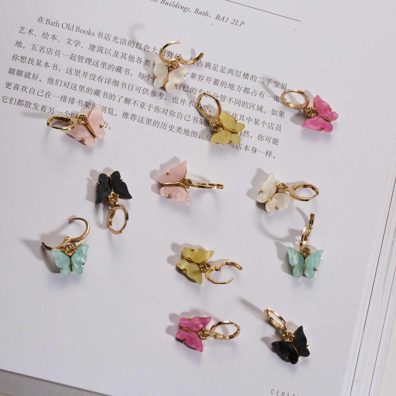 2020ファッションエレガントなアクリル蝶イヤリングシンプルなかわいい韓国女性小さなスタッドのイヤリングシックなボヘミアイヤリングジュエリー