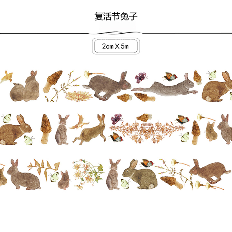 20mm*5m Creative Easter Bunny Lovely Rabbit Easter Bonus Animal Decoration Washi Tape DIY Diary Scrapbooking Masking Tape Escola
