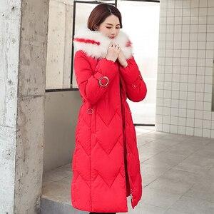 Image 5 - 2020 зимняя новая парка, женская утепленная пуховая хлопковая куртка, пальто, теплые пуховые хлопковые пальто, женская однотонная куртка с капюшоном, длинные плотные приталенные куртки